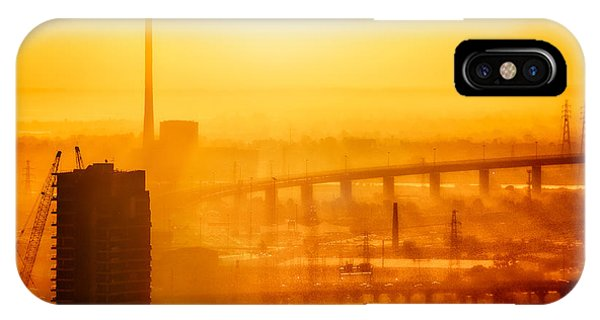 IPhone Case featuring the photograph Burning Sunset Through Smog by Ray Warren