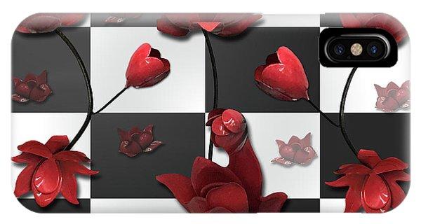 Burnt Crimson Flora IPhone Case