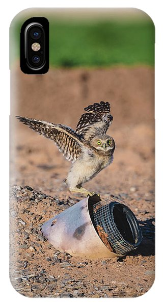Burrowing Owlet Stretching His Wings IPhone Case