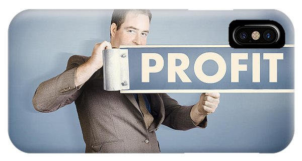 Finance iPhone Case - Business Man Holding Financial Profit Street Sign by Jorgo Photography - Wall Art Gallery