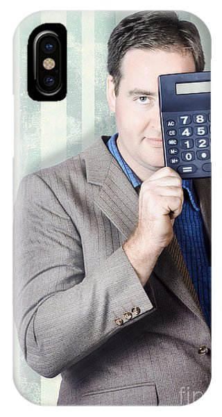 Finance iPhone Case - Business Person Hiding Behind Cash Calculator by Jorgo Photography - Wall Art Gallery