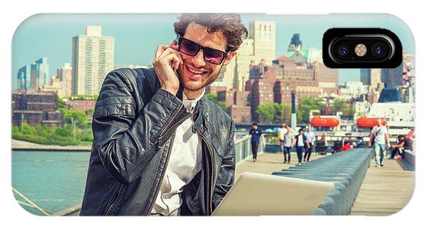 Businessman Enjoying Working Outside IPhone Case