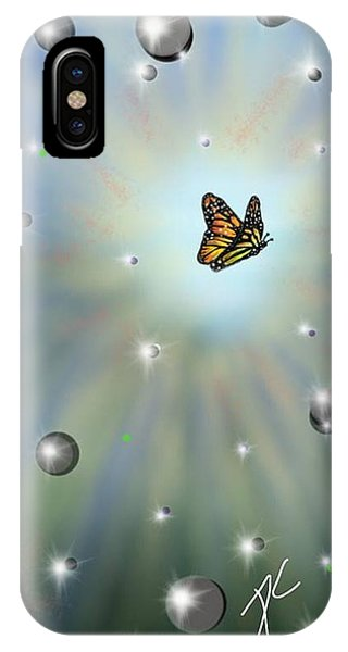 IPhone Case featuring the digital art Butterfly Bubbles by Darren Cannell