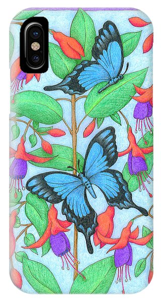 Butterfly Idyll-fuchsias IPhone Case