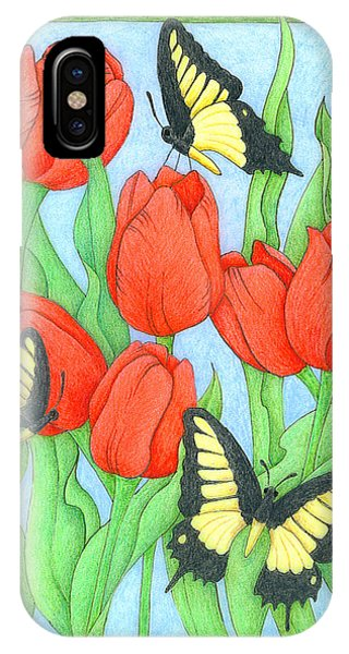 Butterfly Idyll-tulips IPhone Case