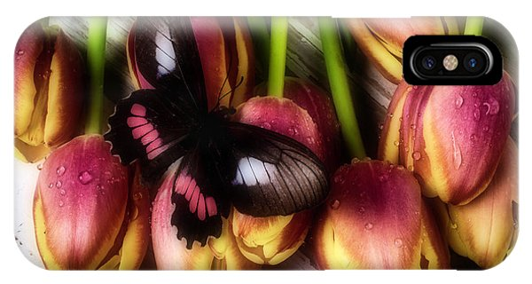 Butterfly On Dewy Tulips IPhone Case