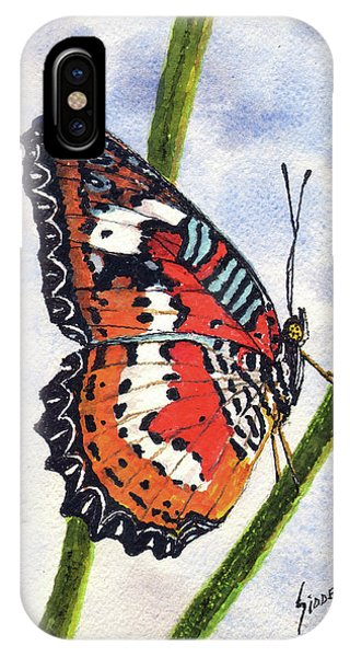 IPhone Case featuring the painting Butterfly - 171012 by Sam Sidders