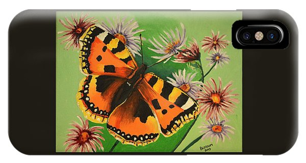Butterfly With Asters IPhone Case