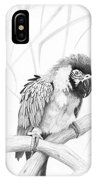 IPhone Case featuring the drawing Bw Parrot by Phyllis Howard