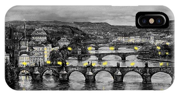 Old iPhone Case - Bw Prague Bridges by Yuriy Shevchuk