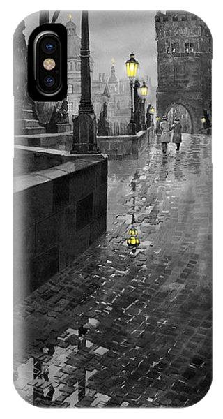 Old iPhone Case - Bw Prague Charles Bridge 01 by Yuriy Shevchuk