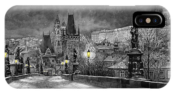 iPhone Case - Bw Prague Charles Bridge 06 by Yuriy Shevchuk