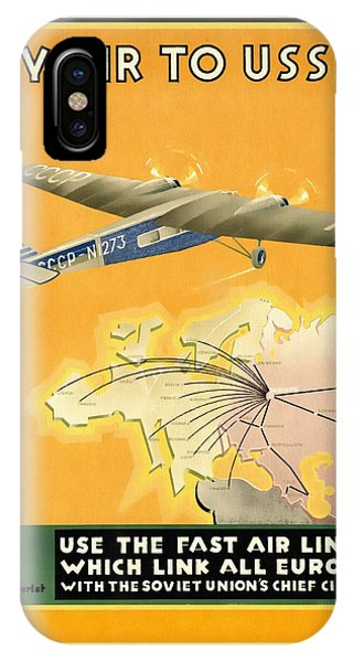 By Air To Ussr With The Soviet Union's Chief Cities - Vintage Poster Restored IPhone Case