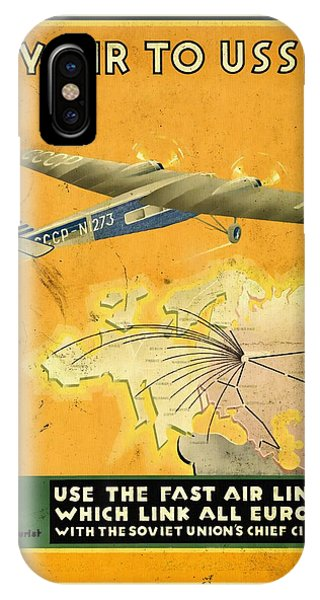 By Air To Ussr With The Soviet Union's Chief Cities - Vintage Poster Vintagelized IPhone Case