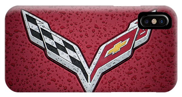 Chevrolet iPhone Case - C7 Badge Red by Douglas Pittman