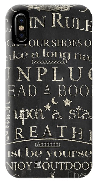 Cabin iPhone Case - Cabin Rules I by Mindy Sommers
