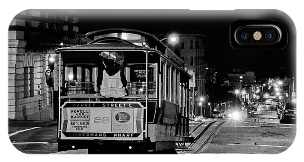 Cable Car At Night - San Francisco IPhone Case