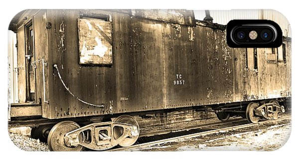 Red Caboose iPhone Case - Caboose Black And White by Lisa Wooten