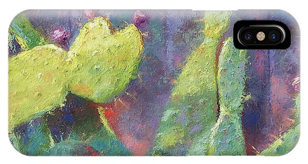 Prickly Pear Cactus Against Fence IPhone Case