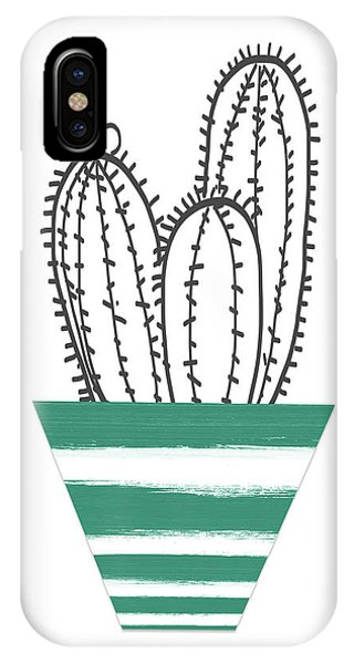 Succulent iPhone Case - Cactus In A Green Pot- Art By Linda Woods by Linda Woods
