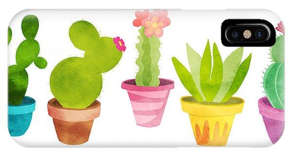 Succulent iPhone Case - Cactus Plants In Pretty Pots by Little Bunny Sunshine