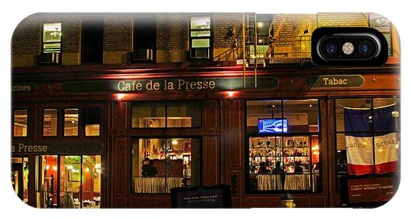 Cafe De La Presse On Bush St IPhone Case