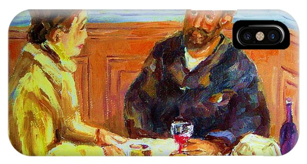 Table For Two iPhone Case - Cafe  Homage  De Pierre Auguste by Carole Spandau