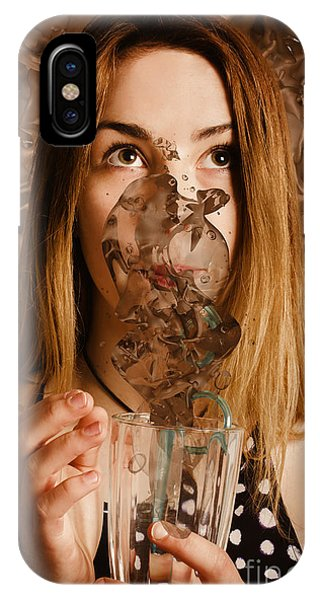 Smoothie iPhone Case - Cafe Tin Sign Girl Drinking Chocolate Milkshake by Jorgo Photography - Wall Art Gallery