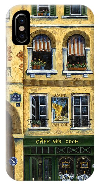 Street Sign iPhone Case - Cafe Van Gogh Paris by Marilyn Dunlap