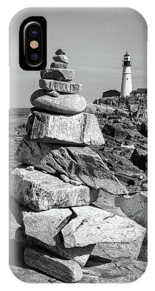 Cairn And Lighthouse  -56052-bw IPhone Case