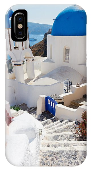 Caldera With Stairs And Church At Santorini IPhone Case