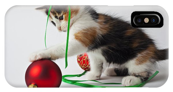 Calico Kitten And Christmas Ornaments IPhone Case