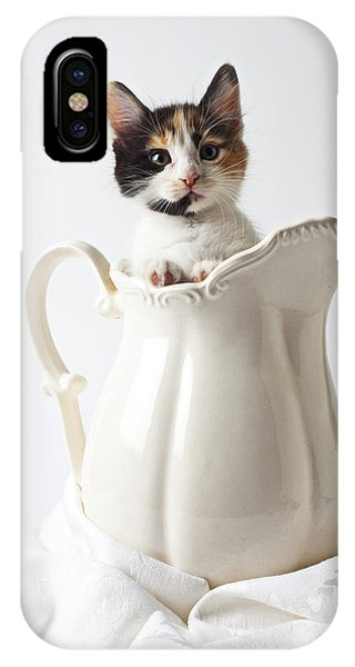 Pets iPhone Case - Calico Kitten In White Pitcher by Garry Gay