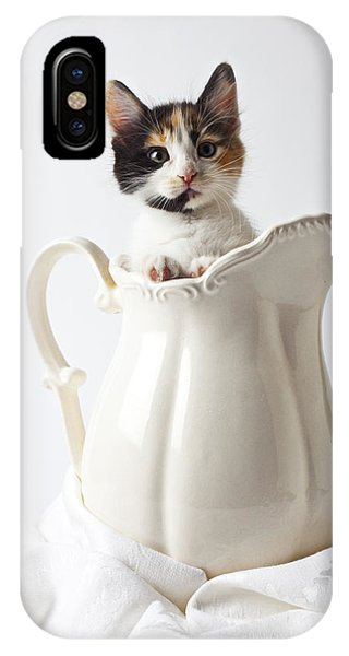 Pet iPhone Case - Calico Kitten In White Pitcher by Garry Gay