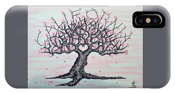 IPhone Case featuring the drawing California Cherry Blossom Love Tree by Aaron Bombalicki