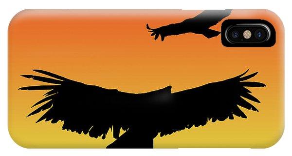 California Condors In Flight Silhouette At Sunset IPhone Case