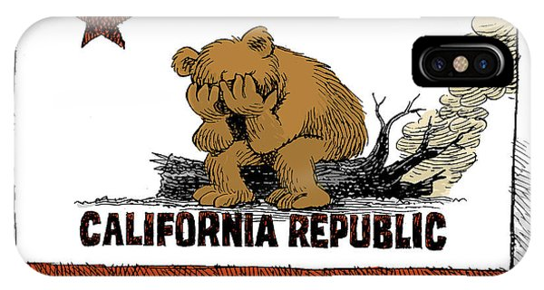 California Fire Bear Grieves IPhone Case