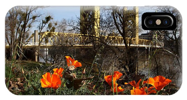 California Poppies With The Slightly Photographically Blurred Sacramento Tower Bridge In The Back IPhone Case