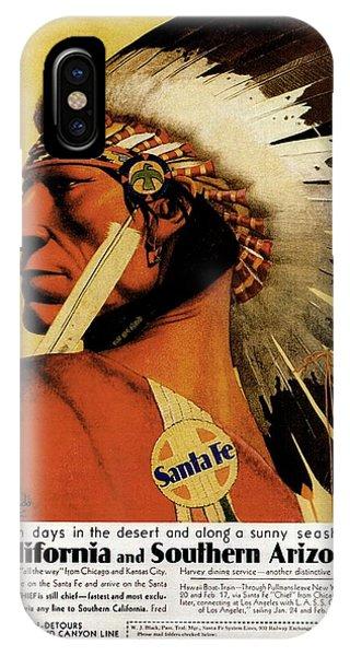 Advertising iPhone Case - California - Southern Arizona - Red Indian - Native American - Santa Fe - Vintage Advertising Poster by Studio Grafiikka