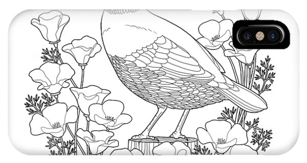 Poppies iPhone Case - California State Bird And Flower Coloring Page by Crista Forest