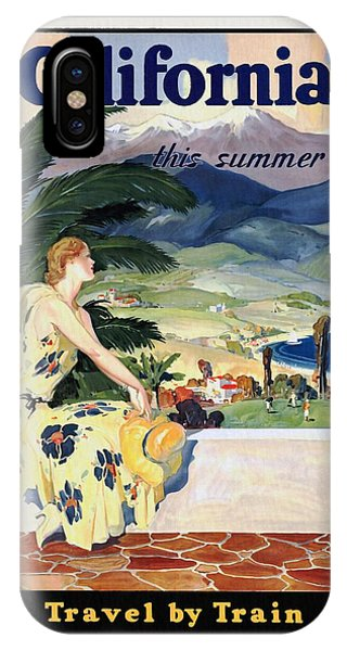 California This Summer - Travel By Train - Vintage Poster Restored IPhone Case
