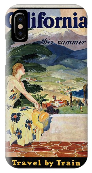 California This Summer - Travel By Train - Vintage Poster Vintagelized IPhone Case