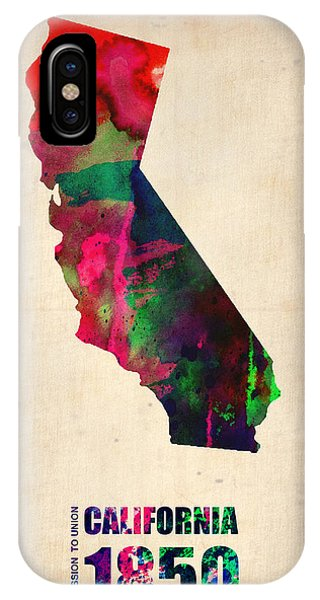 California iPhone Case - California Watercolor Map by Naxart Studio