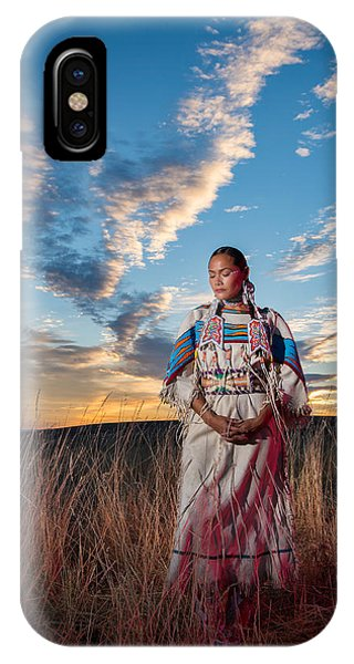 Native American Spirit Portrait iPhone Case - Calling The Spirit by Christian Heeb
