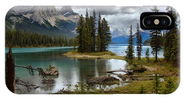 Rocky Mountain Np iPhone Case - Calm Waters At Spirit Island by Adam Jewell