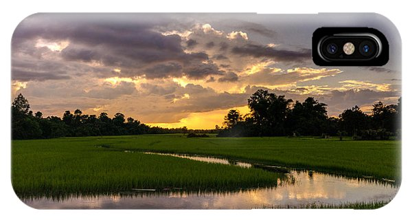 Cambodia Rice Fields Sunset IPhone Case