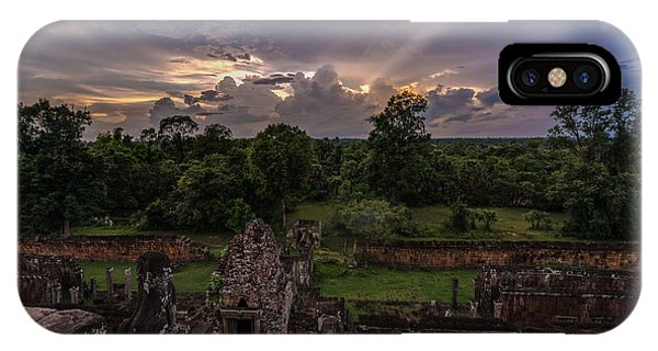 Cambodia iPhone Case - Cambodia Temple Ruins Sunset by Mike Reid