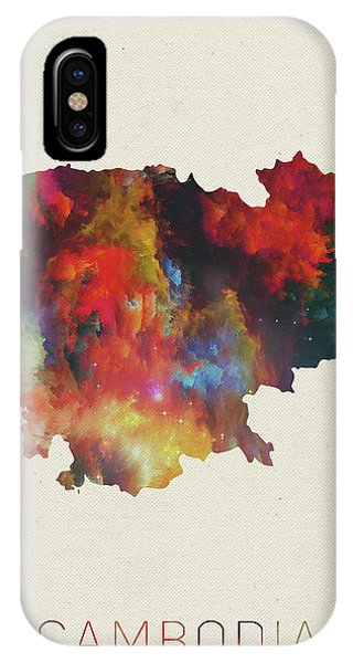 Cambodia iPhone Case - Cambodia Watercolor Map by Design Turnpike