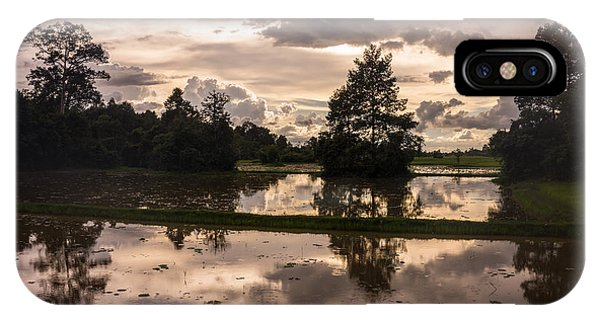 Cambodia iPhone Case - Cambodian Countryside Rice Fields Reflection by Mike Reid