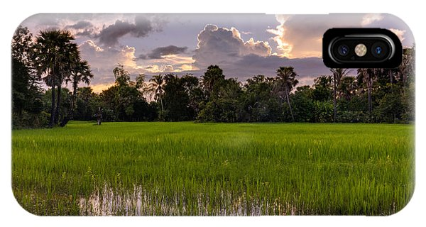 Cambodia iPhone Case - Cambodian Rice Fields Dramatic Cloudscape by Mike Reid
